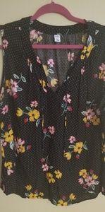 Black small polka dots floral tank blouse